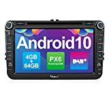 Vanku Android 10 Autoradio für VW Radio 64GB+4GB PX6 mit Eingebautes DAB + Navi CD DVD Player...