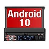 PUMPKIN Android 10 Autoradio 1 Din Radio mit Navi Ausfahrbares Touchscreen Unterstützt Bluetooth...